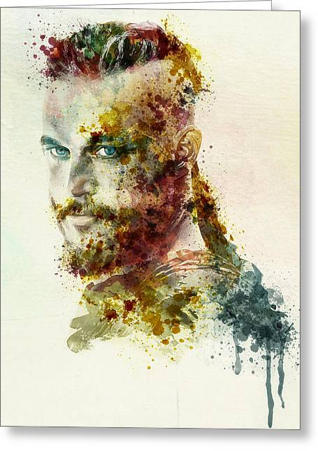 Dark Red Greeting Cards - Earl Ragnar Lothbrok in watercolor Greeting Card by Marian Voicu