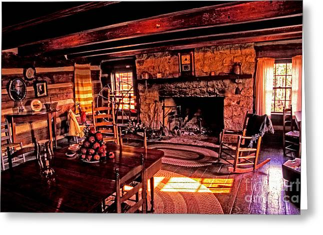 Early American Livingroom Greeting Card by Paul W Faust -  Impressions of Light