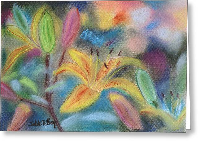 Day Lilly Greeting Cards - Early Arrival Greeting Card by Julie Brugh Riffey