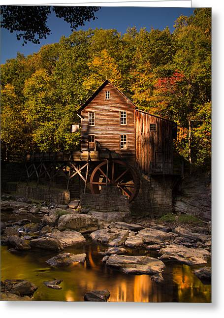 Grist Mill Greeting Cards - Early Autumn at Glade Creek Grist Mill Greeting Card by Shane Holsclaw