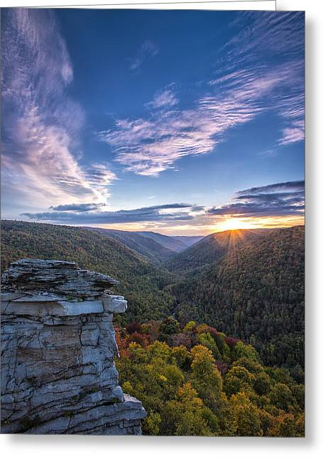 Lindy Greeting Cards - Early Autumn at Lindy Point Greeting Card by Dwoodphotography Darren Barnes