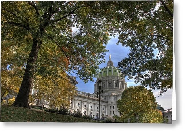 Capitol Greeting Cards - Early Autumn at the Capitol Greeting Card by Lori Deiter