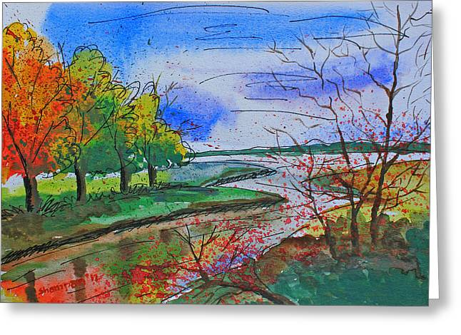 Shakhenabat Kasana Greeting Cards - Early Autumn Landscape Greeting Card by Shakhenabat Kasana