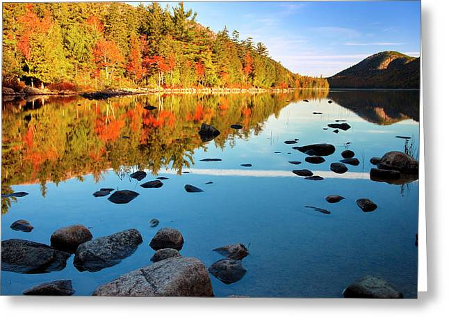 Early Autumn Morning At Jordan Pond Greeting Card by Brian Jannsen