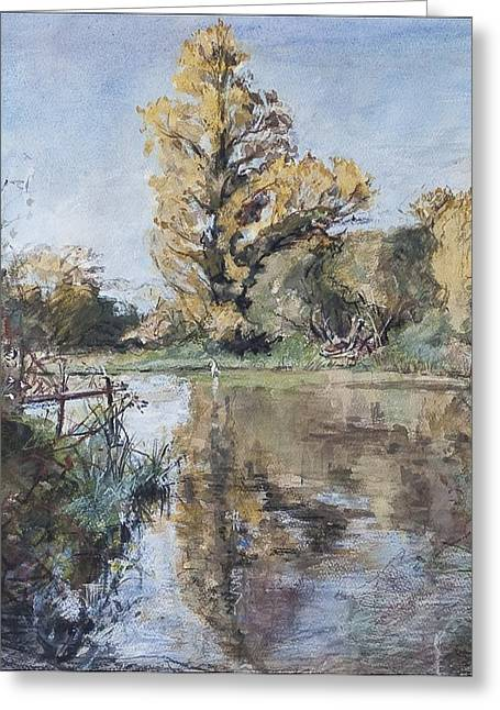 Daylight Paintings Greeting Cards - Early Autumn on the River Test Greeting Card by Caroline Hervey-Bathurst