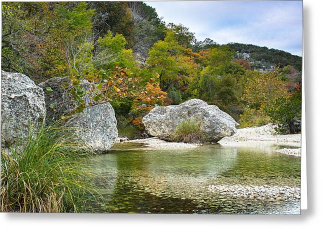 Fall Colors Greeting Cards - Early autumn in Texas Hill Country Greeting Card by Ellie Teramoto