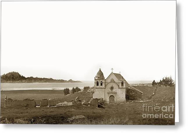 Point Lobos Greeting Cards - Early Carmel Mission and Point Lobos California circa 1884 Greeting Card by California Views Mr Pat Hathaway Archives