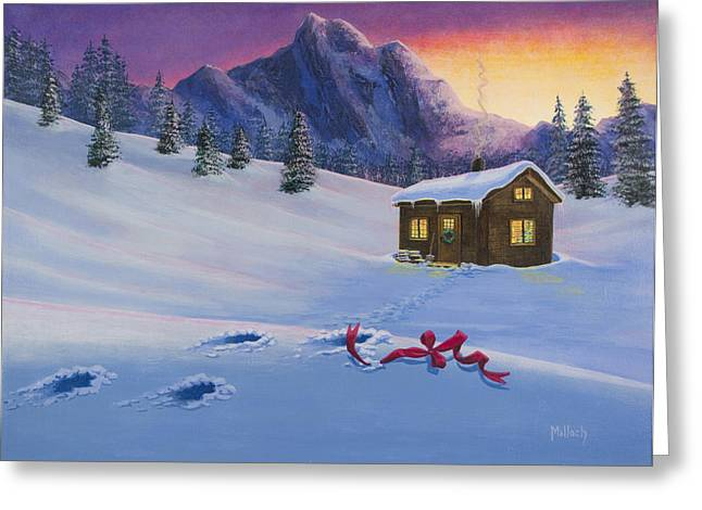 Mountain Cabin Greeting Cards - Early Christmas Morn Greeting Card by Jack Malloch