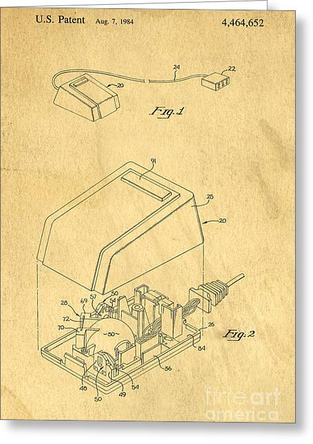 Computing Greeting Cards - Early Computer Mouse Patent Yellowed Paper Greeting Card by Edward Fielding