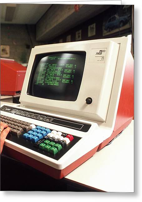 Early Computer Terminal Greeting Card by Ton Kinsbergen