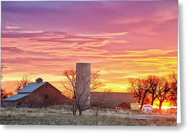 Early Morning Sun Greeting Cards - Early Country Morning Sunrise Greeting Card by James BO  Insogna