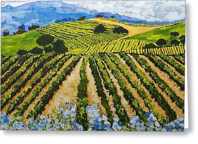 Landscape. Scenic Paintings Greeting Cards - Early Crop Greeting Card by Allan P Friedlander