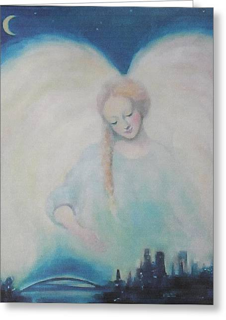 Night Angel Greeting Cards - Early Dawn Angel Overlooking Commuters Greeting Card by Asha Carolyn Young