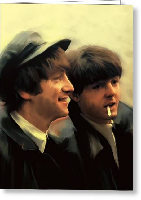 Paul Mccartney Greeting Cards - Early Days John Lennon and Paul McCartney Greeting Card by Iconic Images Art Gallery David Pucciarelli