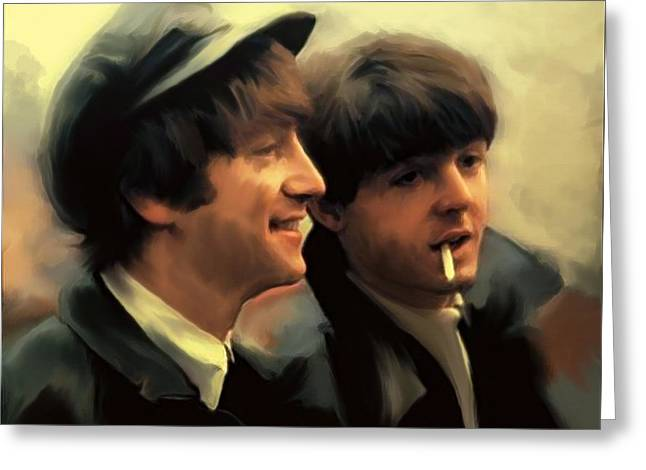 John Lennon Lithographs Greeting Cards - Early Days II John Lennon and Paul McCartney Greeting Card by Iconic Images Art Gallery David Pucciarelli