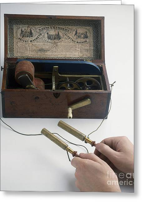 1850s Greeting Cards - Early Defibrillator, 1850s Greeting Card by Clive Streeter / Dorling Kindersley / Science Museum, London