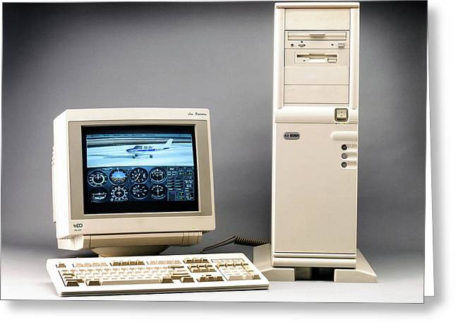 Early Desktop Computer Greeting Card by Ton Kinsbergen