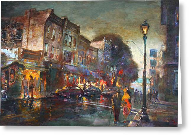 Early Evening In Main Street Nyack Greeting Card by Ylli Haruni