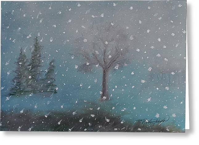 Snowscape Pastels Greeting Cards - Early Evening Snow Fall Greeting Card by R Neville Johnston