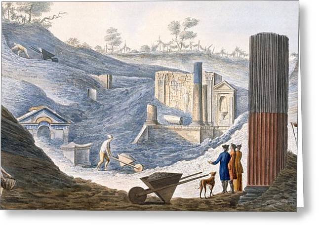 Ancient Ruins Drawings Greeting Cards - Early Excavations At Herculaneum Greeting Card by Pietro Fabris