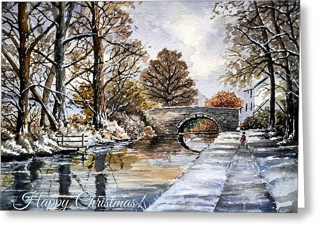 Rural Snow Scenes Greeting Cards - Early Fall at Mortimers Bridge The Mon and Brecon canal Greeting Card by Andrew Read