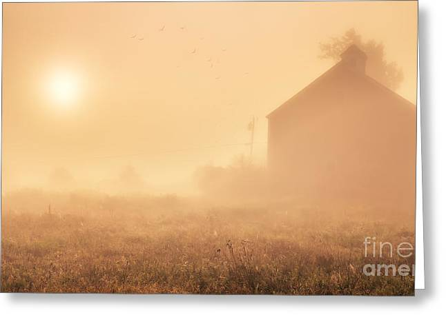 Early Foggy Morning On The Farm Greeting Card by Edward Fielding