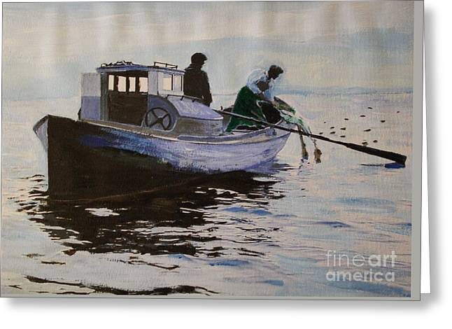 Early Gillnetter At Work Greeting Card by Bill Hubbard