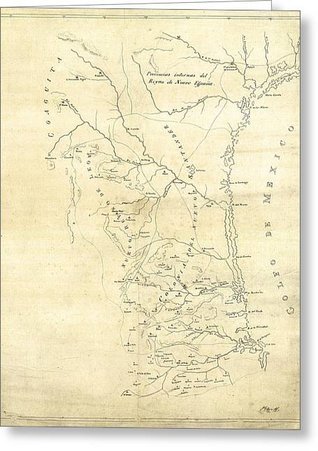 Hand Drawn Photographs Greeting Cards - EARLY HAND-DRAWN SOUTHERN TEXAS MAP c. 1795 Greeting Card by Daniel Hagerman