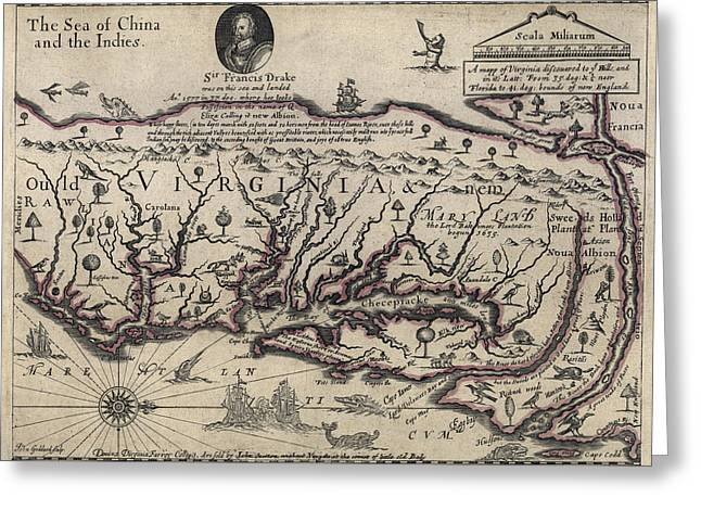 Virginia Beach Greeting Cards - Early Hand-Drawn Virginia Map - 1647 Greeting Card by Daniel Hagerman