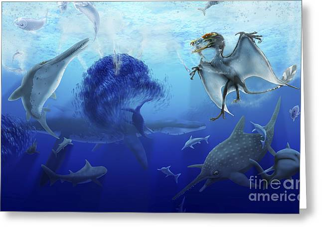 Fish Digital Art Greeting Cards - Early Jurassic European Pelagic Scene Greeting Card by Alice Turner