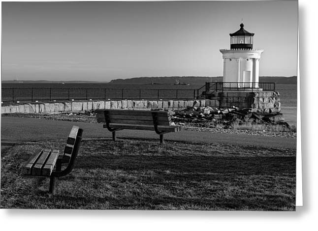 Pictorial Landscape Greeting Cards - Early Morning At Bug Lighthouse BW Greeting Card by Susan Candelario