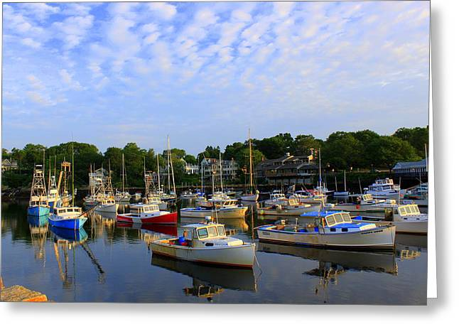 Best Sellers -  - Sailboats In Harbor Greeting Cards - Early Morning at Perkins Cove Greeting Card by Suzanne DeGeorge