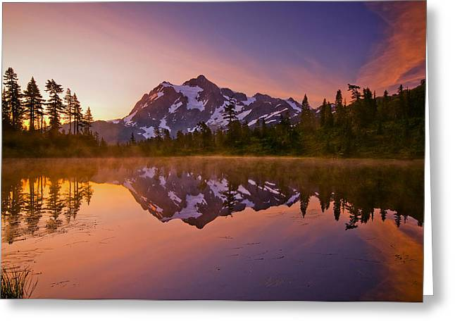Sunrise. Water Greeting Cards - Early Morning at Picture Lake Greeting Card by Darren  White