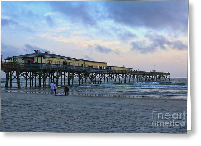 Clouds Deborah Benoit Greeting Cards - Early Morning At Sun Glow Pier Greeting Card by Deborah Benoit