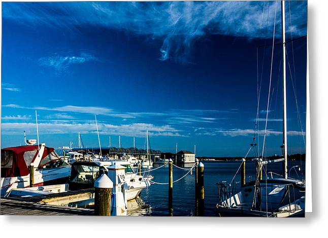 Sailboats At The Dock Greeting Cards - Early Morning At The Dock Greeting Card by Kathy Liebrum Bailey