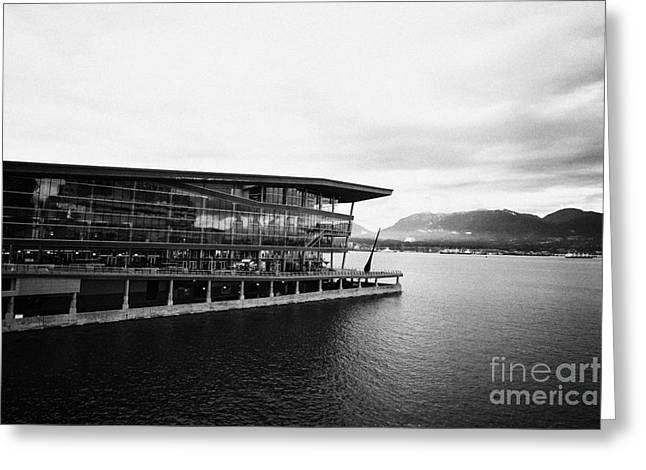 early morning at the Vancouver convention centre west building on burrard inlet BC Canada Greeting Card by Joe Fox
