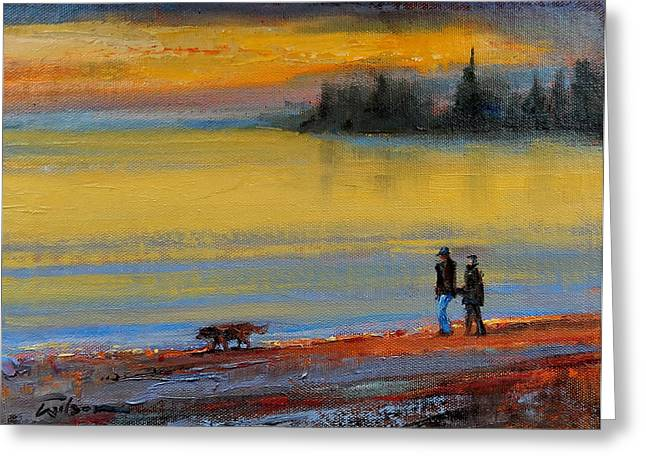 Kelpie Paintings Greeting Cards - Early morning beach walk Greeting Card by Ron Wilson
