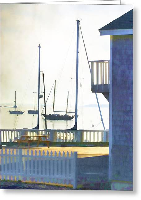 Schooner Digital Greeting Cards - Early Morning Camden Harbor Maine Greeting Card by Carol Leigh