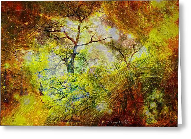Cypress Tree Digital Art Greeting Cards - Early Morning Cypress Abstract Greeting Card by J Larry Walker