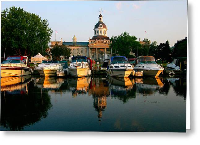 Kingston City Hall Greeting Cards - Early Morning Downtown Marina Greeting Card by Paul Wash