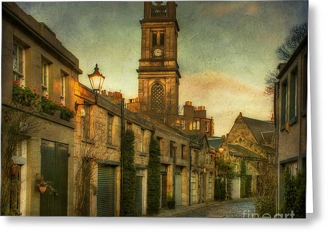 Townhouses Greeting Cards - Early Morning Edinburgh Greeting Card by Lois Bryan