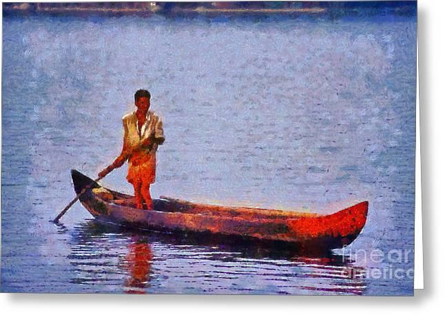 Early Morning Fishing In India Greeting Card by George Atsametakis