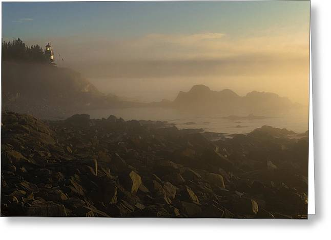 Lubec Greeting Cards - Early morning fog at Quoddy Greeting Card by Marty Saccone