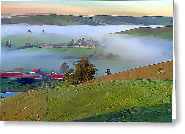 Marin County Digital Art Greeting Cards - Early morning fog over Two Rock Valley Greeting Card by Wernher Krutein