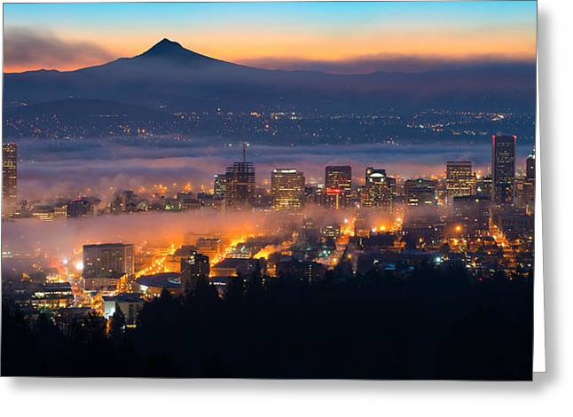 Horizontal Panorama Greeting Cards - Early Morning Fog Greeting Card by Patrick Campbell