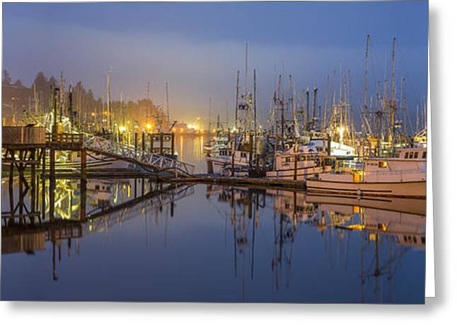 Bathroom Prints Greeting Cards - Early Morning Harbor Greeting Card by Jon Glaser