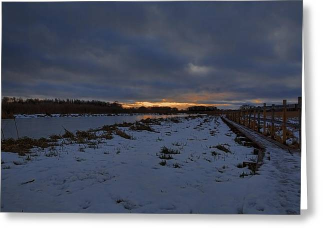 Reflection Of Sun In Clouds Greeting Cards - Early morning January 2015 Greeting Card by Leif Sohlman