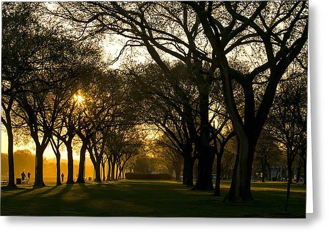 Jogging Greeting Cards - Early Morning Jog in Washington D C  Greeting Card by Mountain Dreams
