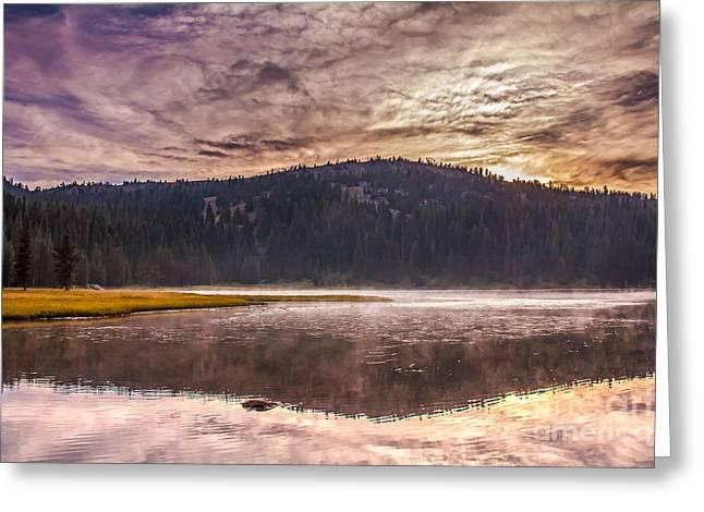 Early Morning Lake Light Greeting Card by Robert Bales
