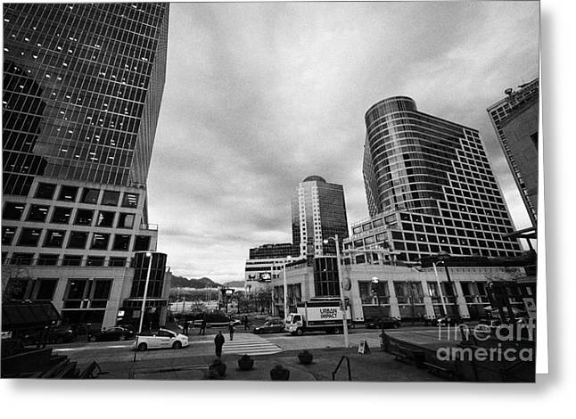 North Vancouver Greeting Cards - early morning looking towards the waterfront centre and canada place Vancouver BC Canada Greeting Card by Joe Fox
